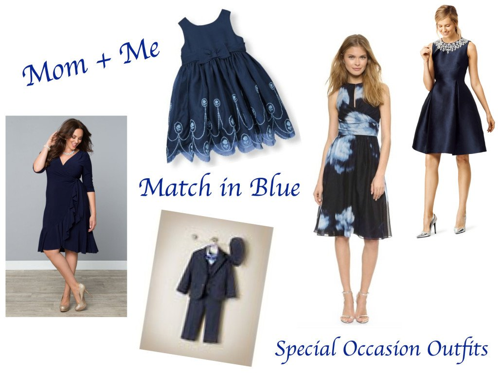 Mother Daughter Matching Blue Special Occasion Outfits