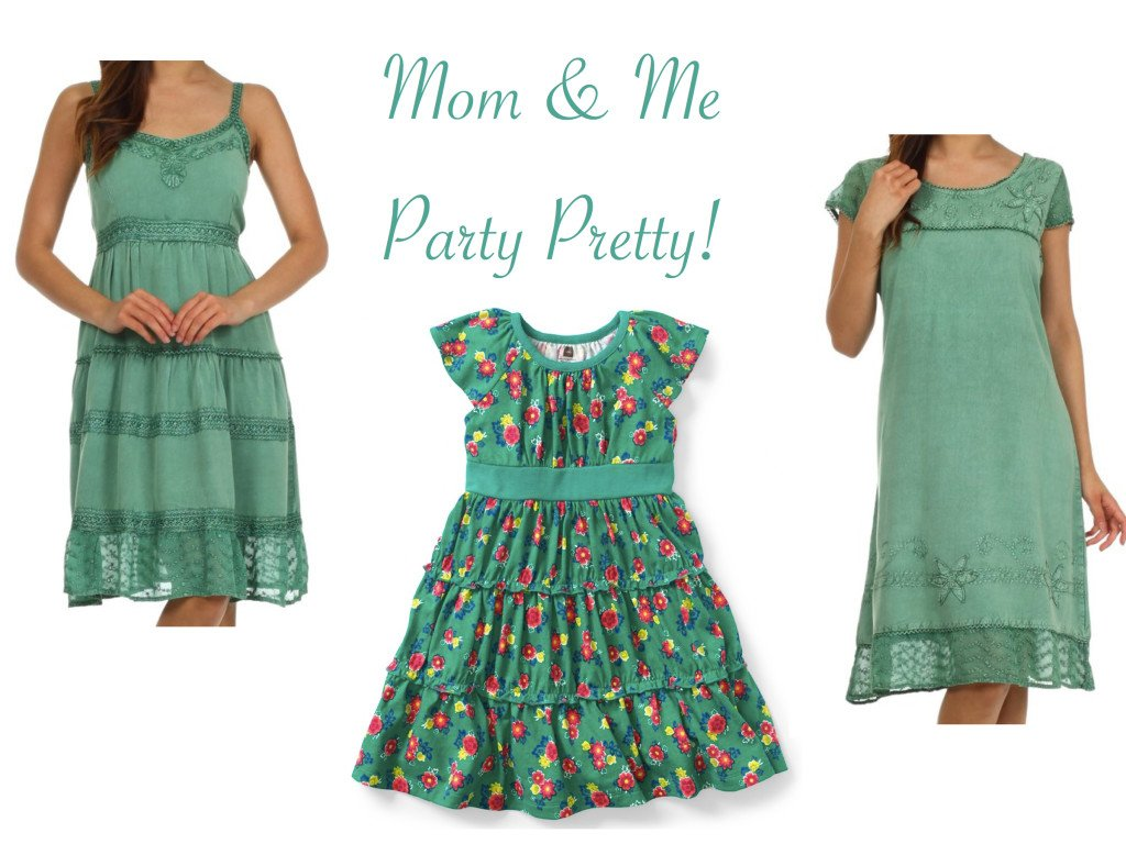 Mother Daughter Matching Green Special Ocassion Dresses