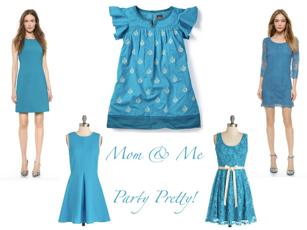 Mother Daughter Matching Special Occasion Dresses in Turquoise