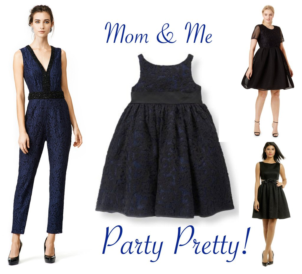 Mother Daughter Party Dresses in Black and Blue