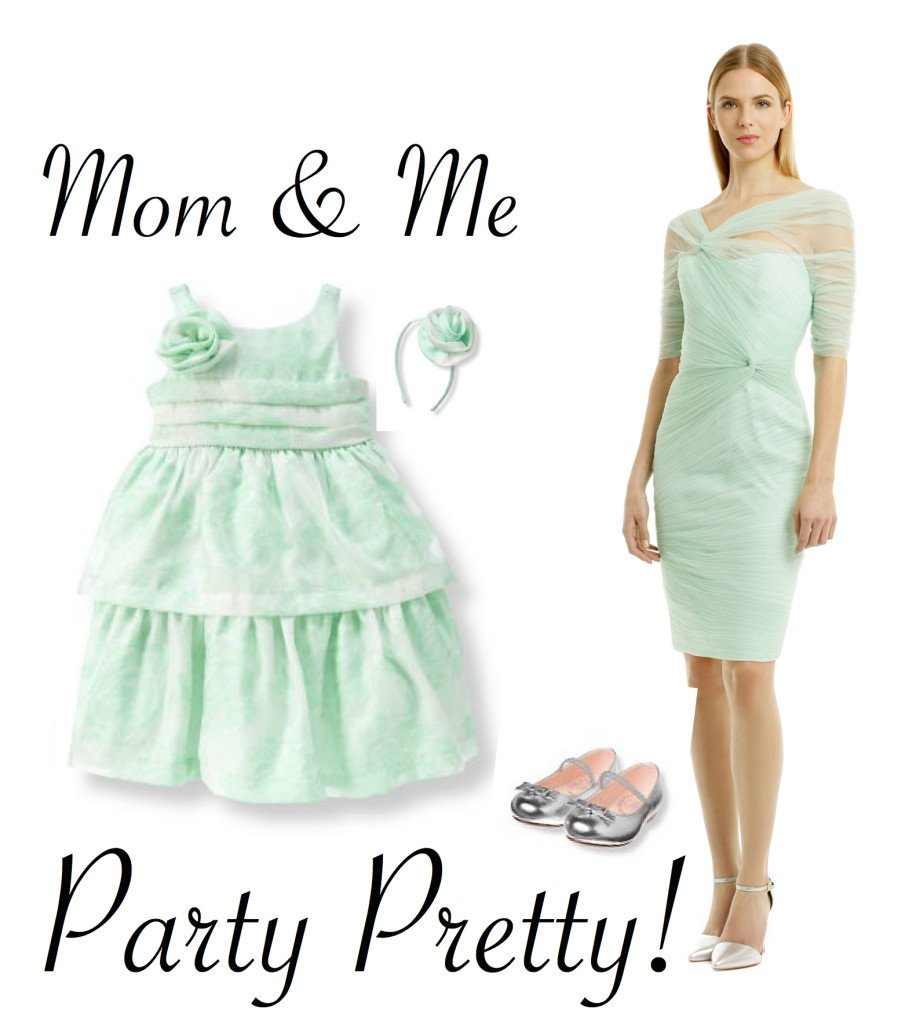 Mother Daughter Party Dresses in Mint