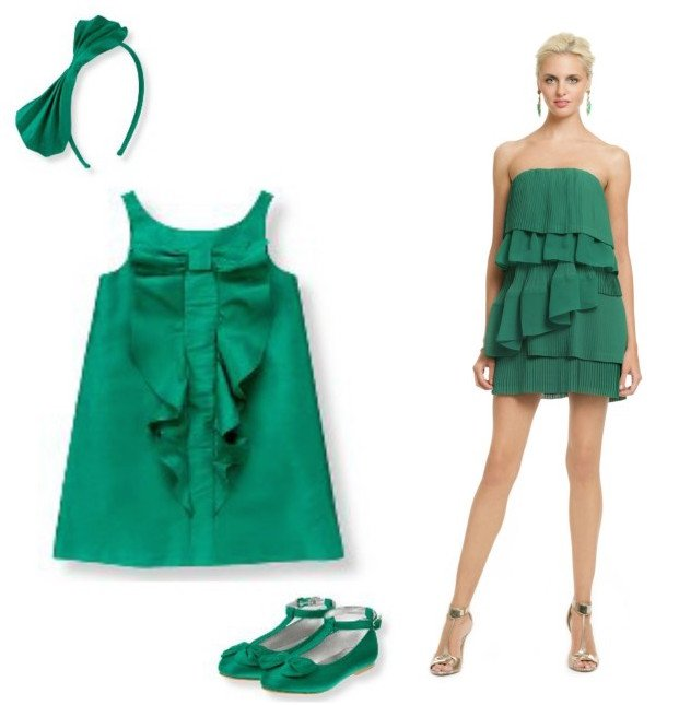 Mother Daughter Matching Emerald Green Party Dresses