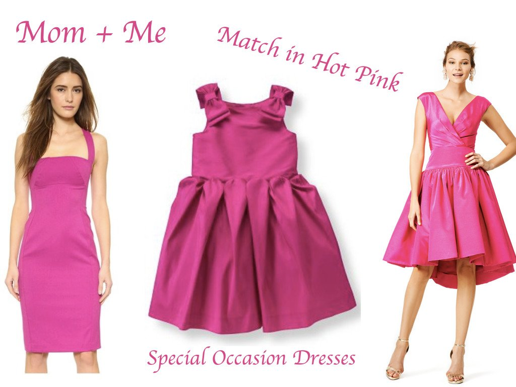 Mother Daughter Matching Hot Pink Special Occasion Dresses