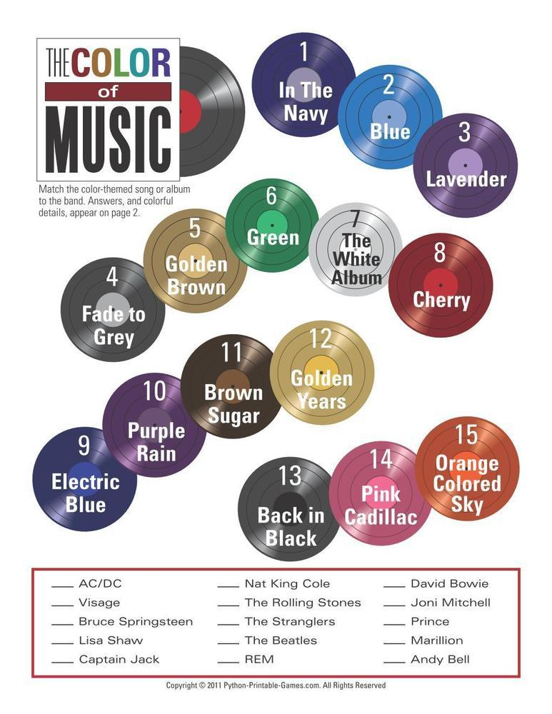 Printable Color of Music Trivia