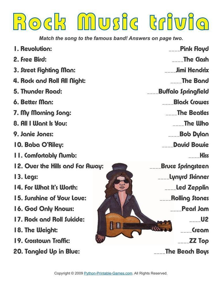 Printable Rock Music Trivia Game