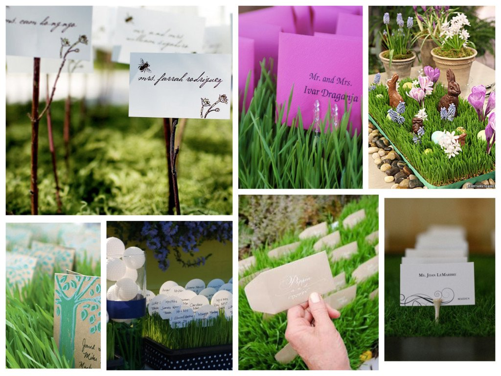 Real Grass Place Card Display Ideas, grass place card holders