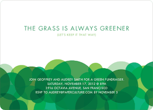 The grass is always greener eco-friendly party invitation