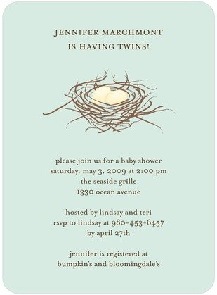 Twin's Nest Baby Shower Invitations