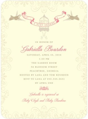 Beautiful Birdcage Baby Shower Invitation