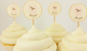 Baby Shower Cupcake Toppers Bird Cage