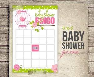Bird Cage Floral Printable Baby Shower Game Bingo P