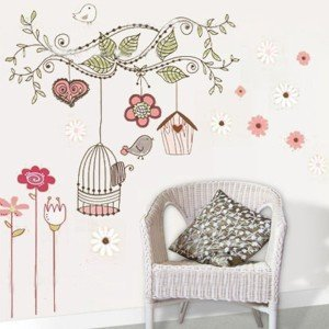 Birdcage Floral Wall Decals