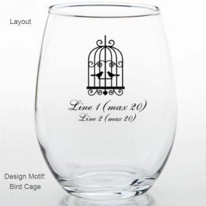 Birdcage Motif Personalized Stemless Wine Glass