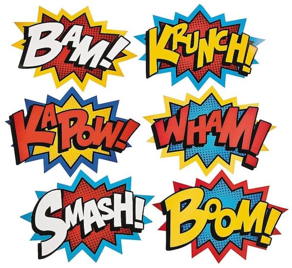 Cardboard Jumbo Superhero Word Cutouts