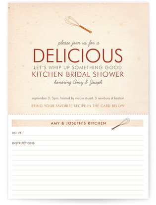 Couples Recipe Bridal Shower Invitations