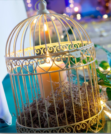 Decorative Ivory Birdcage Centerpiece