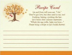 Fall Tree Recipe Card Invitation