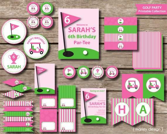 Girls Golf Party Printable Invitations & Decorations Pink