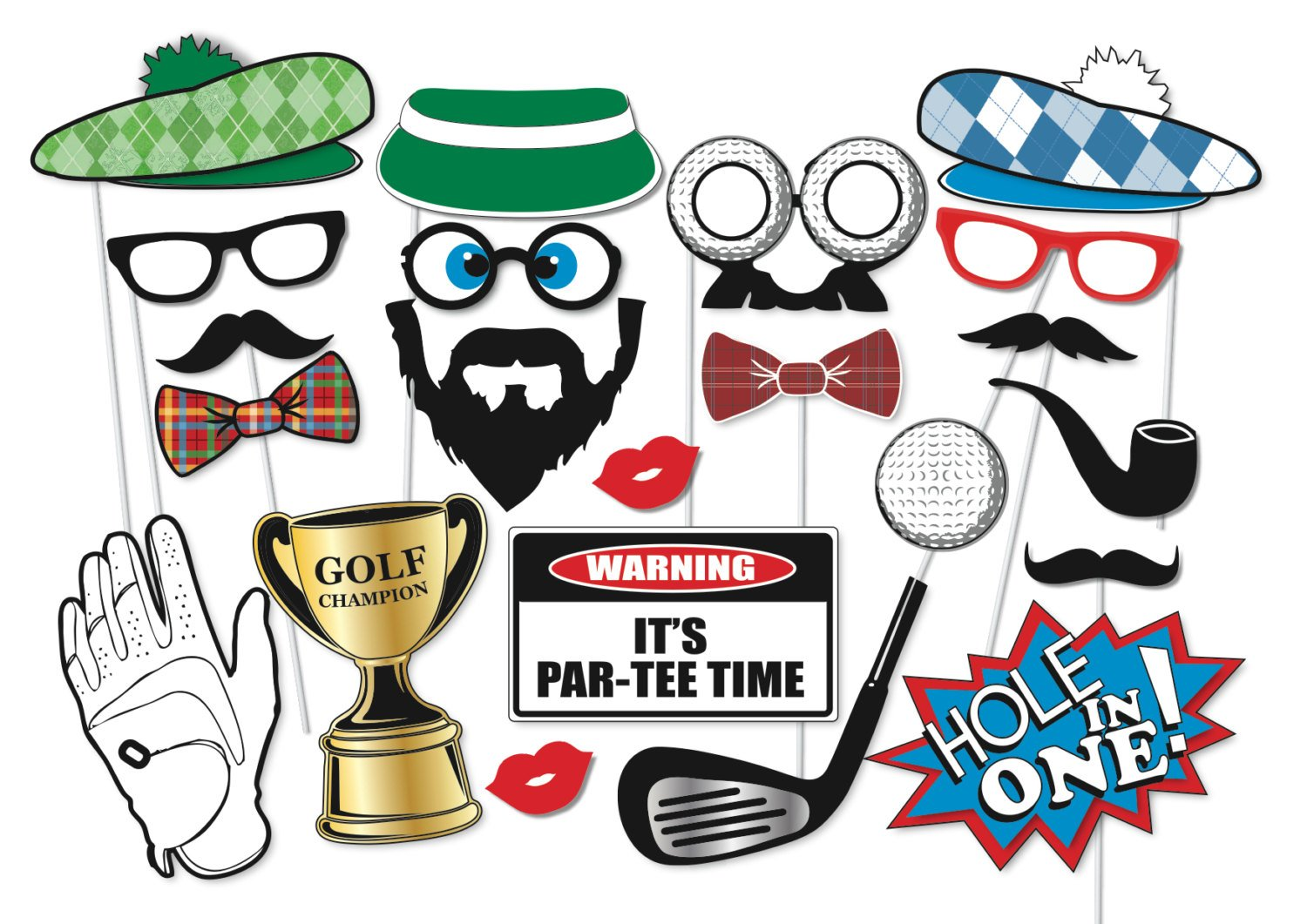 Golf Party Photo Booth Props Set