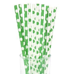Green White Polka Dot Straws