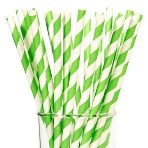 Green and White Striped Straws