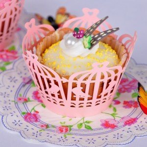 Laser Cut Birdcage Shape Cupcake Wrappers