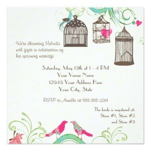 Mod Bird Cage Bridal Shower Invitation - Back