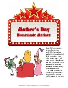 Mother's Day Printable Games: Homemade Matinee