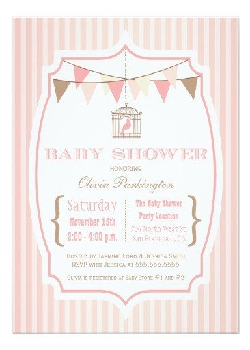 Pink vintage typography baby shower invitation