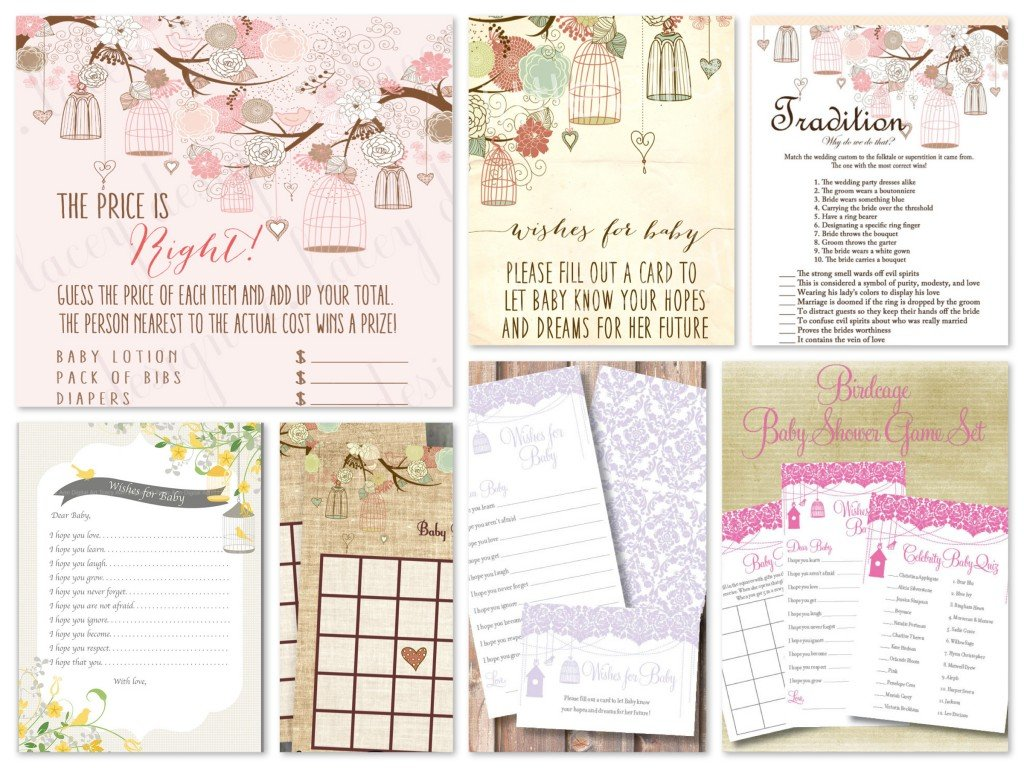 Printable Birdcage Theme Baby and Bridal Shower Games