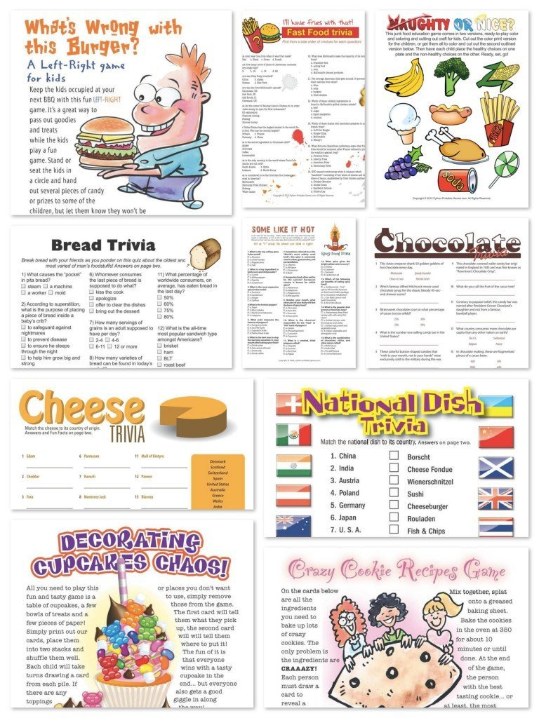 Printable Food Games