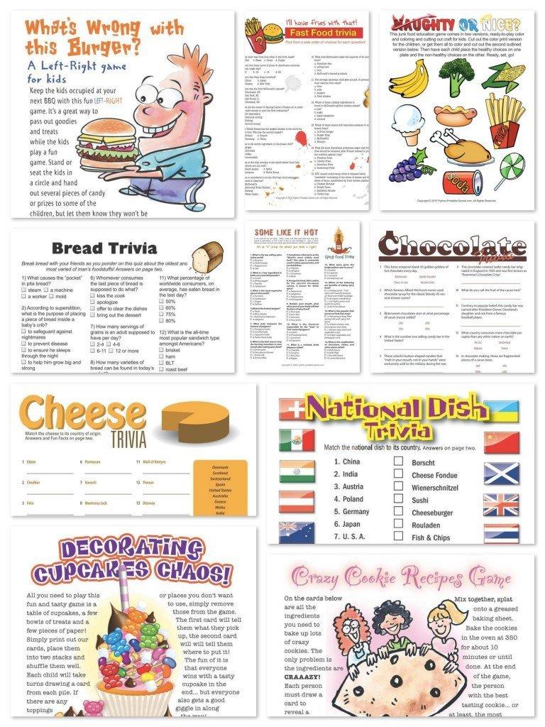 Printable Food Games