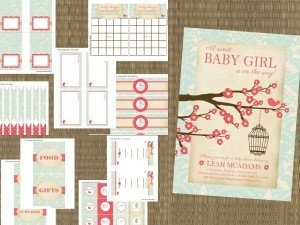 Printable Vintage Little Bird Cage Baby Shower Invitation Party Package