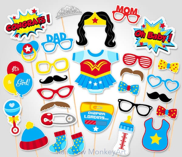 Printable Wonder Woman Photo Booth Props
