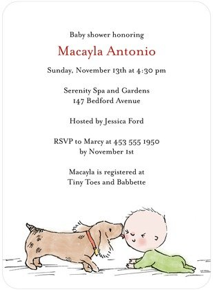 Puppy Kisses Baby Shower Invitation