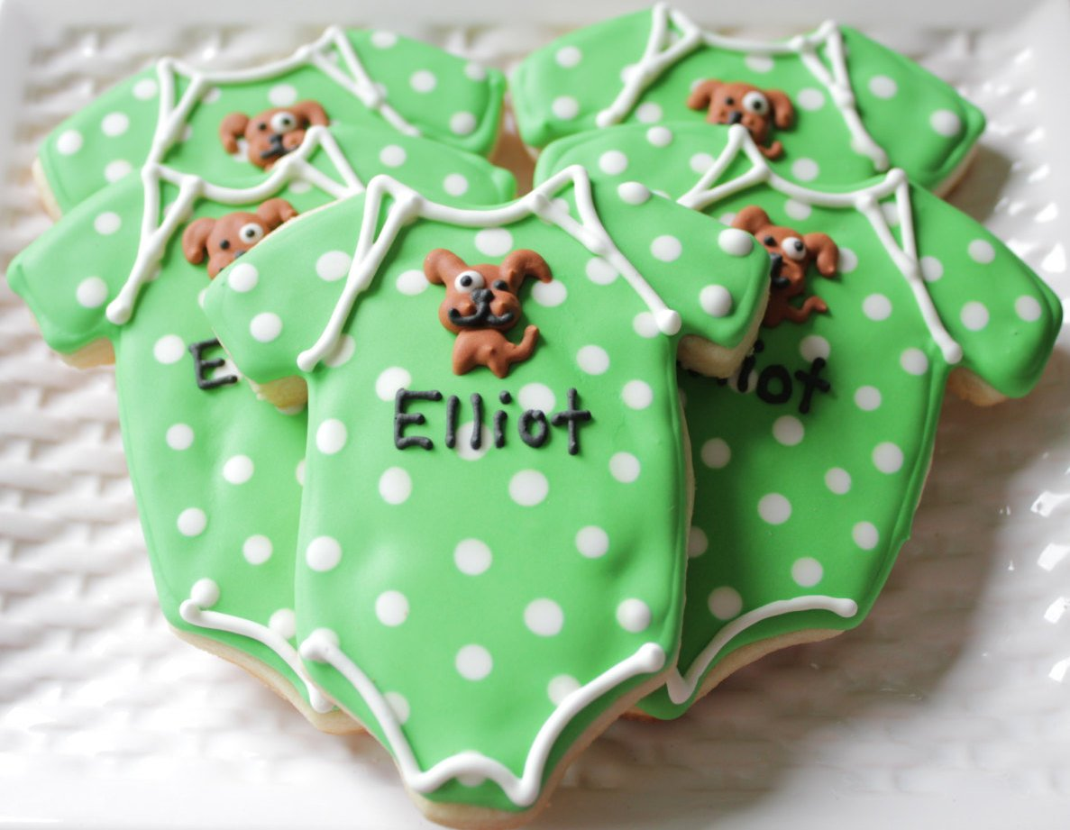 Puppy Onesie Vanilla Sugar Cookie Baby Shower Party Favors