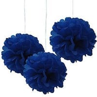 Royal Blue Tissue Hanging Paper Pom Poms