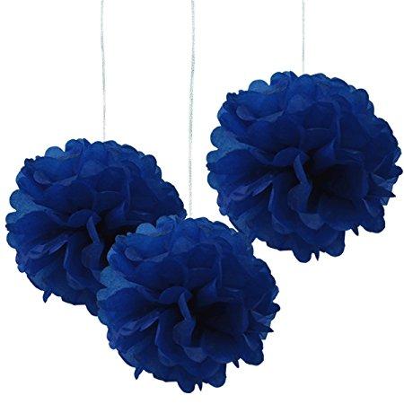 Royal Blue Tissue Hanging Paper Pom-poms