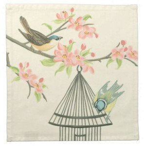 Small Birds Perched on a Branch and on a Birdcage Cloth Napkin