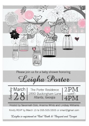 Striped Vintage Birdcage Invitation