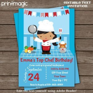 Top Chef Cooking Party Printable Invitation