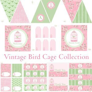 Vintage Bird Cage Party Printable Decorations