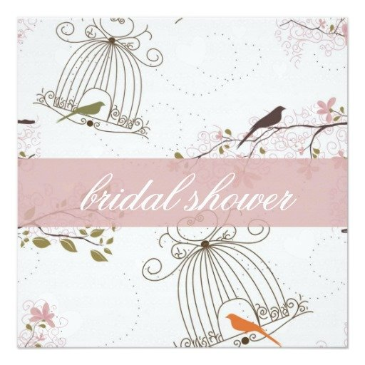 Vintage Birdcage Bridal Shower with Lovebirds Invitation