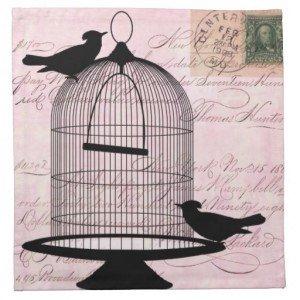 Vintage Birdcage Silhouette Cloth Napkins