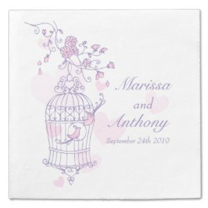 Wedding love birds purple pink paper napkins