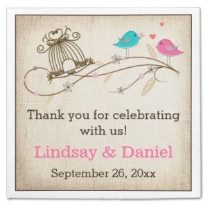 Whimsical Birds in Love Wedding Paper Napkins