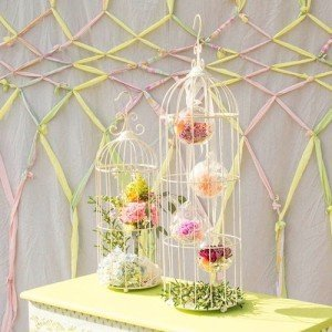 White Birdcage Centerpiece