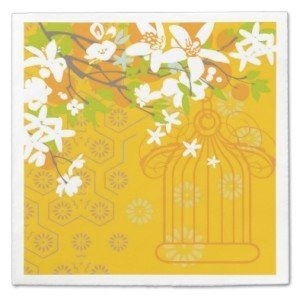 White Floral Flowers Mandarin Bird Cage Standard Cocktail Napkin