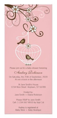 birdcage baby shower invitation