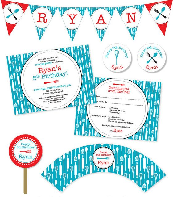 cooking party printable party supplies